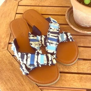 Toms Blue Criss Cross Fringe Sandals